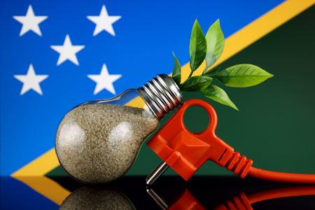 Plug, plant growing inside the light bulb and Solomon Islands Flag. Green eco renewable energy concept.