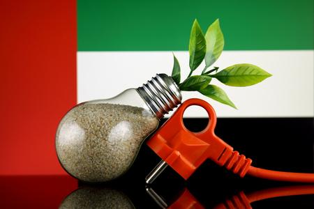 Plug, plant growing inside the light bulb and United Arab Emirates Flag. Green eco renewable energy concept.