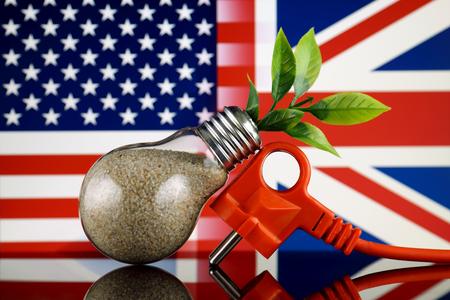 Plug, plant growing inside the light bulb, United States and United Kingdom Flag. Green eco renewable energy concept.