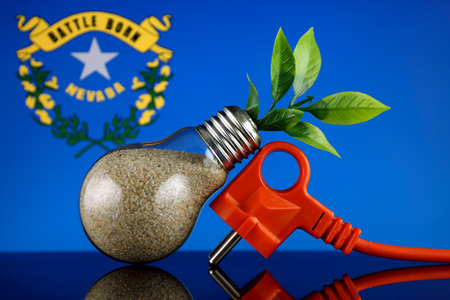 Plug, plant growing inside the light bulb and Nevada State Flag. Green eco renewable energy concept. 免版税图像