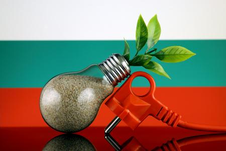 Plug, plant growing inside the light bulb and Bulgaria Flag. Green eco renewable energy concept.