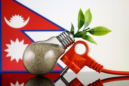 Plug, plant growing inside the light bulb and Nepal Flag. Green eco renewable energy concept.
