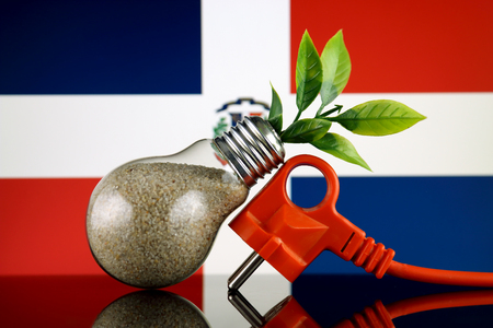 Plug, plant growing inside the light bulb and Dominican Republic Flag. Green eco renewable energy concept.