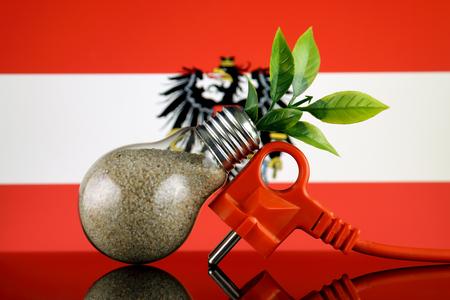 Plug, plant growing inside the light bulb and Austria Flag. Green eco renewable energy concept.