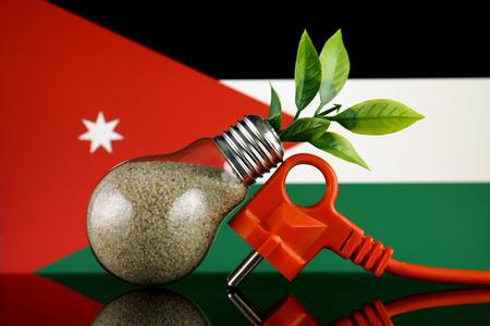 Plug, plant growing inside the light bulb and Jordan Flag. Green eco renewable energy concept. Stock fotó