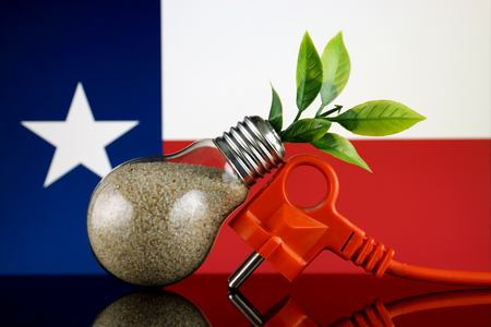 Plug, plant growing inside the light bulb and Texas State Flag. Green eco renewable energy concept. Stock Photo