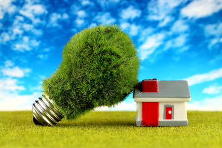 Green eco light bulb and miniature house. Renewable energy concept. Electricity prices, energy saving in the household.
