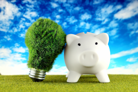 Piggy bank and green eco light bulb with grass and blue sky background. Renewable energy. Electricity prices, energy saving in the household. Imagens