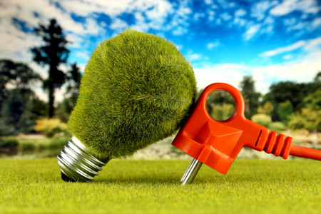 Plug and green eco light bulb with grass and blue sky background. Renewable energy concept. Electricity prices, energy saving in the household.