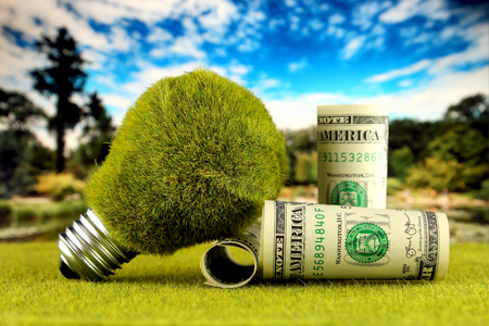 One dollar banknotes and green eco light bulb with grass and blue sky background. Renewable energy concept. Electricity prices, energy saving in the household.