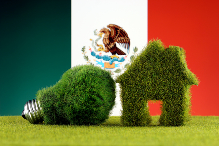 Green eco light bulb, eco house icon and Mexico Flag. Renewable energy. Electricity prices, energy saving in the household.