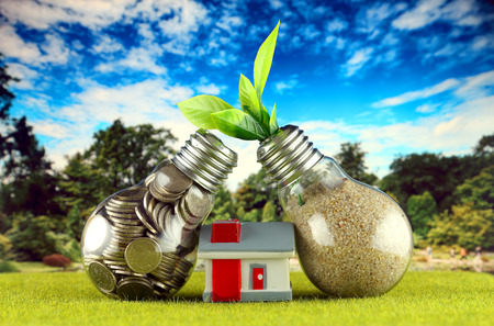 Coins inside the light bulb, plant growing inside the light bulb and miniature house. Green eco renewable energy concept. Electricity prices, energy saving in the household. Stock fotó