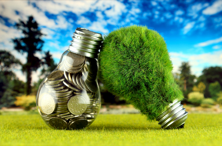 Coins inside the light bulb and green eco light bulb with grass. Renewable energy concept. Electricity prices, energy saving in the household. Stock fotó