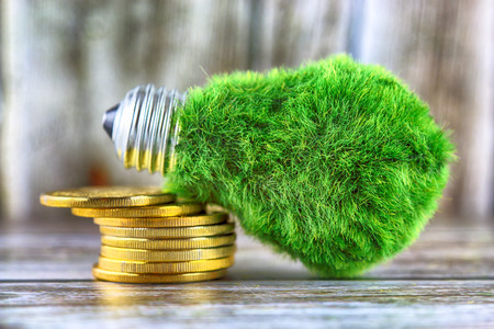 Green eco light bulb with grass and golden coins on wooden background. Renewable energy concept. Electricity prices, energy saving in the household.