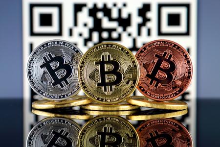 Bitcoin (BTC) and QR Code (Bitcoin Wallet Address) concept.