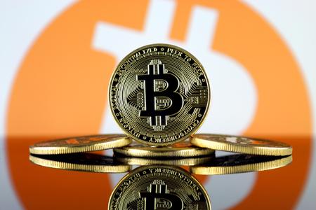 Bitcoin (BTC) y BITCOIN SE ACEPTAN AQUÍ. Adopción masiva y aumento del precio de las criptomonedas. Foto de archivo