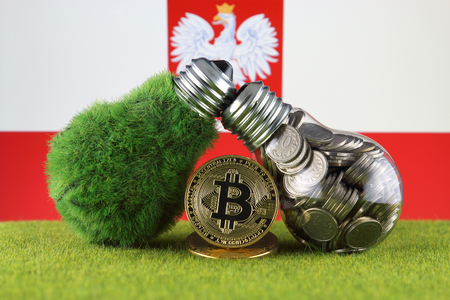 Bitcoin (BTC), green renewable energy concept, and Poland Flag. Electricity prices, energy saving in the cryptocurrency mining business.