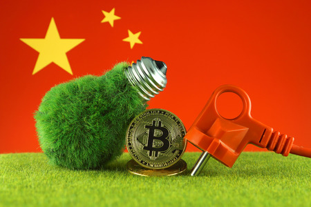 Bitcoin (BTC), green renewable energy concept, and China Flag. Electricity prices, energy saving in the cryptocurrency mining business.