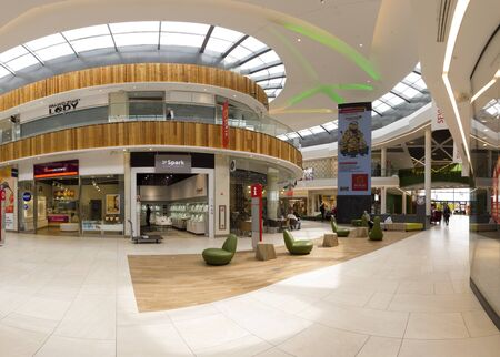WROCLAW, POLAND - MAY 07, 2019: Aleja Bielany Shopping Center in Bielany Wroclawskie, near the border with Wroclaw is the largest shopping mall in Poland. A unique architectural project.