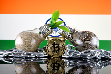 Bitcoin (BTC), green renewable energy concept, and India Flag. Electricity prices, energy saving in the cryptocurrency mining business.