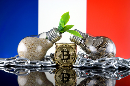Bitcoin (BTC), green renewable energy concept, and France Flag. Electricity prices, energy saving in the cryptocurrency mining business. Stok Fotoğraf