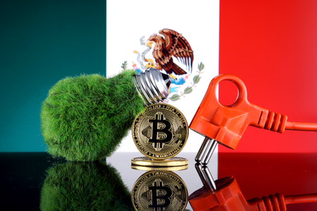 Bitcoin (BTC), green renewable energy concept, and Mexico Flag. Electricity prices, energy saving in the cryptocurrency mining business.