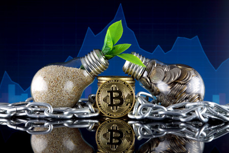 Bitcoin (BTC), Blockchain Technology and green, renewable energy concept. Electricity prices, energy saving in the cryptocurrency mining business.
