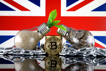 Bitcoin (BTC), green renewable energy concept, and United Kingdom Flag. Electricity prices, energy saving in the cryptocurrency mining business. Standard-Bild