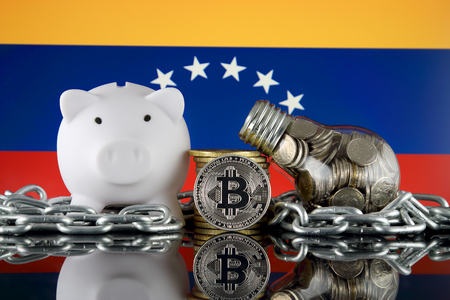Bitcoin (BTC), Blockchain Technology, energy concept and Venezuela Flag. Electricity prices, energy saving in the cryptocurrency mining business.