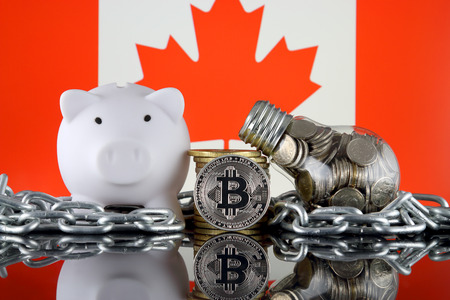 Bitcoin (BTC), Blockchain Technology, energy concept and Canada Flag. Electricity prices, energy saving in the cryptocurrency mining business.