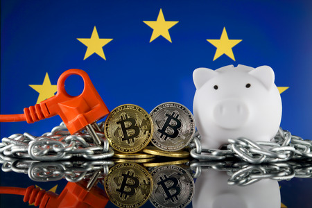 Bitcoin (BTC), Blockchain Technology, energy concept and European Union Flag. Electricity prices, energy saving in the cryptocurrency mining business. Standard-Bild