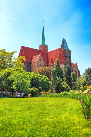 WROCLAW, POLAND - MAY 30, 2019: Botanical Garden in Wroclaw, Poland. The garden was built from 1811 to 1816 on the Cathedral Island (Ostrow Tumski), the oldest part of the city.