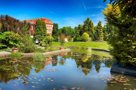 WROCLAW, POLAND - MAY 30, 2019: Botanical Garden in Wroclaw, Poland. The garden was built from 1811 to 1816 on the Cathedral Island (Ostrow Tumski), the oldest part of the city. Фото со стока - 128309382