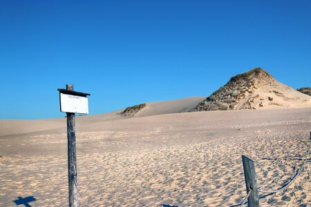 Slowinski National Park is situated on the Baltic Sea coast, near Leba, Poland. Desert landscape with the largest moving sand dunes in Europe. Hot summer day with clear sky, in the middle of summer. Stok Fotoğraf