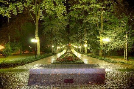 POLANICA ZDROJ, POLAND - AUGUST 26, 2019: The spa park in the center of Polanica Zdroj, Lower Silesia, south-western Poland. Night view. Editorial