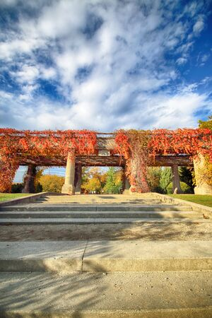 WROCLAW, POLAND - OCTOBER 18, 2019: Pergola - a 640 meter long structure built in 1913 in the shape of a semi-ellipse as an integral part of the Centennial Hall Exhibition Grounds.
