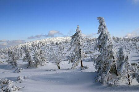 KARPACZ, POLAND - MARCH 08, 2020: Tourist trail to Sniezka (mountain on the border between the Czech Republic and Poland). Winter landscape. Giant Mountains, Poland, Europe.