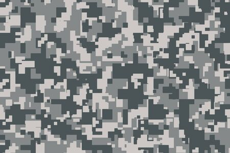 Grey Pixel Camouflage. Digital Camo background, military pattern, army and sport clothing, urban fashion. Vector Format. 2:3 aspect ratio.