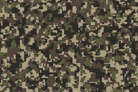Brown, green and black Pixel Camouflage. Khaki Digital Camo background, military pattern, army and sport clothing, urban fashion. Vector Format. 2:3 aspect ratio. Ilustracje wektorowe