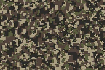 Braunes, grünes und schwarzes Pixel Camouflage. Khaki Digital Camo Hintergrund, Militärmuster, Armee- und Sportkleidung, urbane Mode. Vektorformat. 2:3 Seitenverhältnis. Vektorgrafik