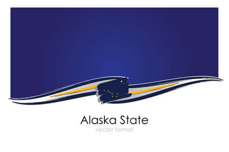 Alaska State Flag with colored hand drawn lines in Vector Format
