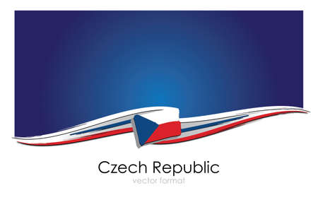 Czech Republic Flag with colored hand drawn lines in Vector Format