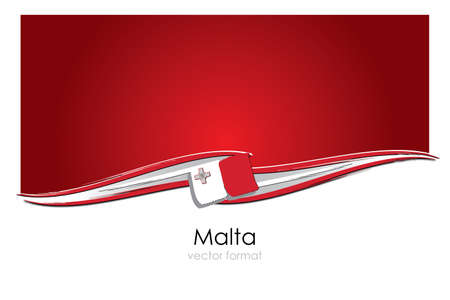 Malta Flag with colored hand drawn lines in Vector Format 矢量图像