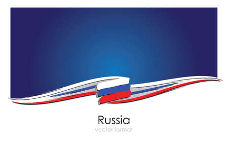 Russia Flag with colored hand drawn lines in Vector Format
