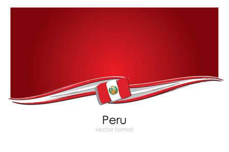 Peru Flag with colored hand drawn lines in Vector Format