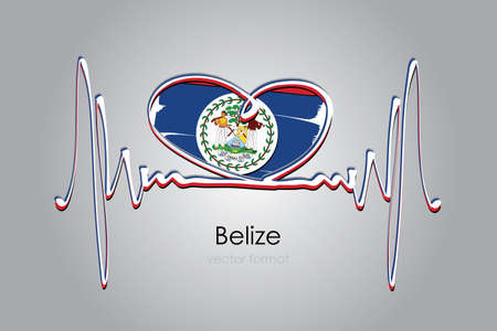 Hand painted heart and Belize Flag in Vector Format