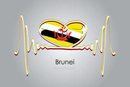 Hand painted heart and Brunei Flag in Vector Format