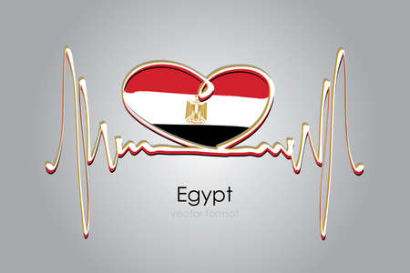 Hand painted heart and Egypt Flag in Vector Format