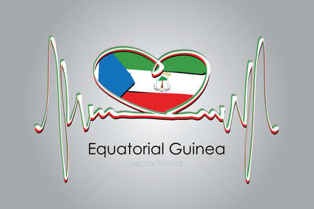 Hand painted heart and Equatorial Guinea Flag in Vector Format