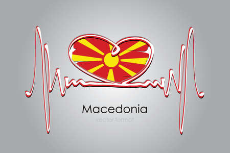 heart and Macedonia Flag in Vector Format